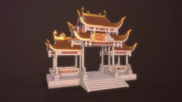 temple shrine asian 3D model