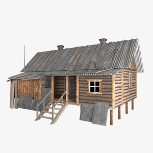 3D old hut house slum model