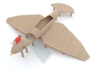 bird wooden playground model