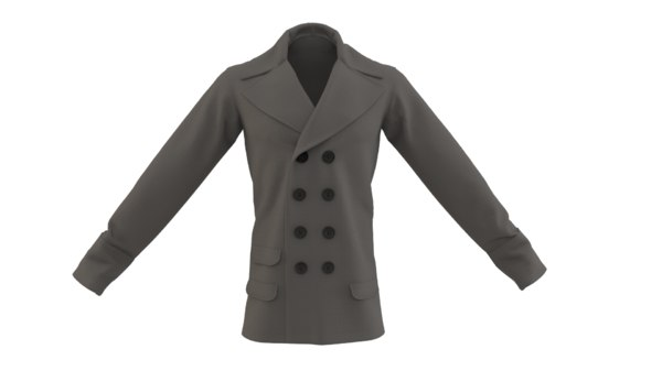 mens double breasted coat 3D model