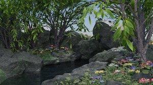 3D model scene small plants flowers