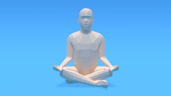 kid sitting yoga pose 3D model