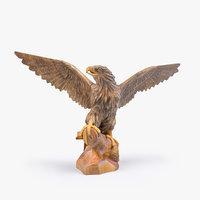 3D wooden eagle sculpture wood