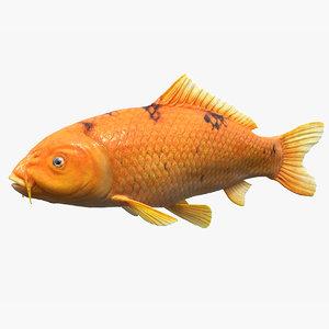 3D golden koi carp