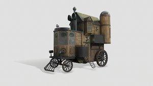 3D gameready steampunk house wheels