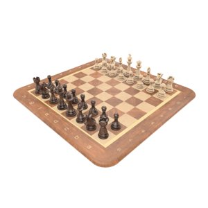 realistic wooden chess set 3D