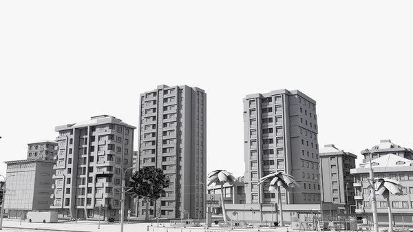 3D white general city buildings model