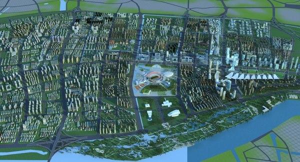 3D skyscrapercityscape streetskylinelandscapetopographysuburbnanjing model