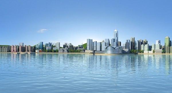 victoria harbour hong kong 3D model