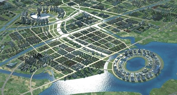 3D skyscrapercityscape streetskylinelandscapetopographysuburbzhengzhou model