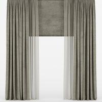 curtains velvet roman 3D