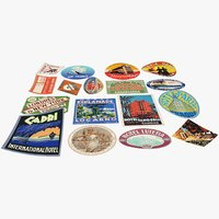 vintage luggage stickers model