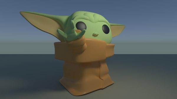 custom pop baby yoda 3D model