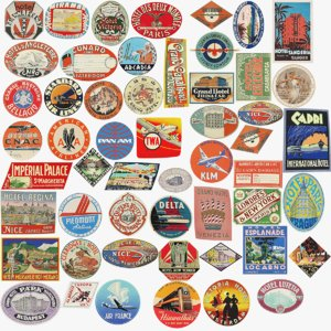 3D set vintage luggage stickers