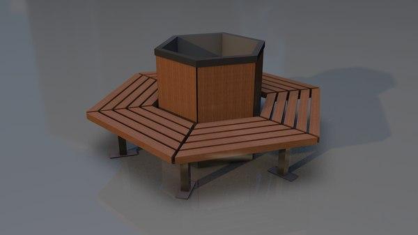 hexagonal garden bench model