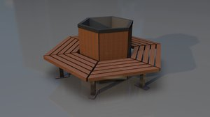 hexagonal garden bench model