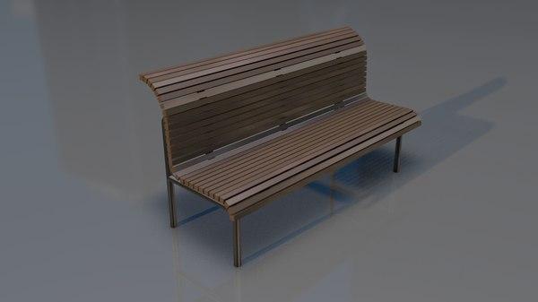 3D model classical garden bench