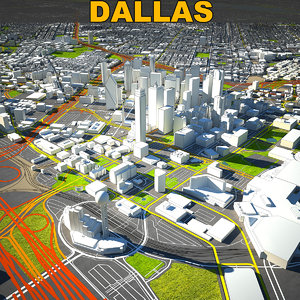 dallas skyline complete 3D model