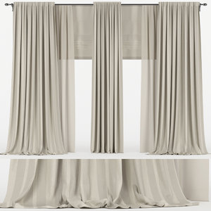 curtains brown tulle 3D model