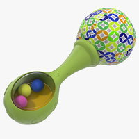 green baby rattle generic 3D