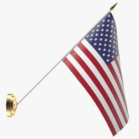 3D model wall flag usa u s