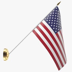 3D model wall flag usa u s