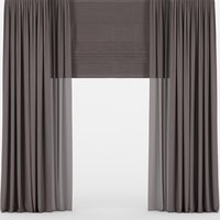 curtains brown tulle 3D