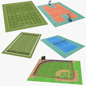 real sports fields 3D model