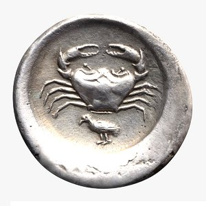 ancient greek didrachm akragas 3D