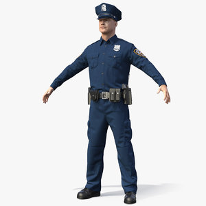 nypd police officer t-pose 3D model