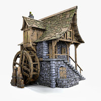 3D medieval watermill model