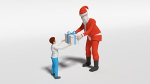 3D santa claus giving gift