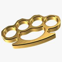 golden brass knuckles metal gold 3D model