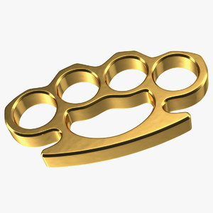 golden brass knuckles metal gold 3D model
