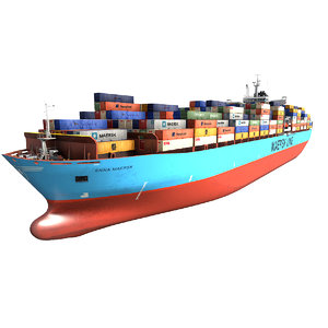 3D model cargo container ship 300m