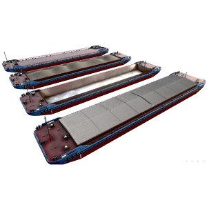 4 types barge 3D model