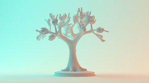 3D tree hands model