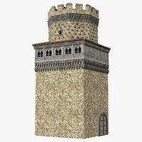 3D model medieval watchtower
