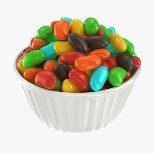 realistic jelly beans bowl 3D model