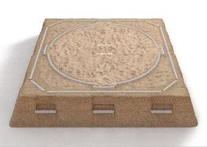 sand sumo wrestling arena 3D model