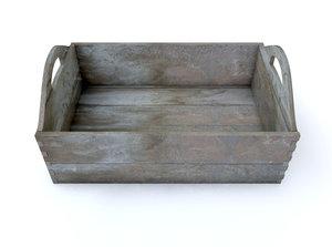 3D model rectangular moonshine wooden crate