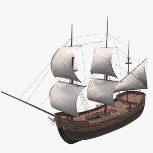 old wood ship 3D
