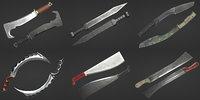 machetes gladius kukri 3D model