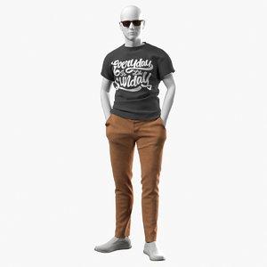 realistic mannequin summer clothes 3D model
