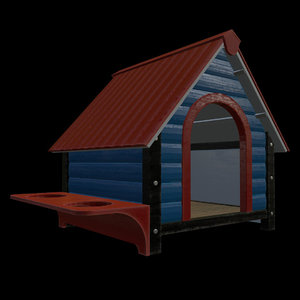 3D wooden dog house model