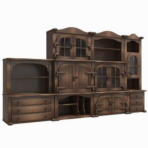 3D cabinet units rustic