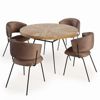 3D model dining table chair frank