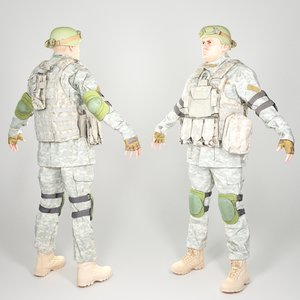 3D equipped human american soldier