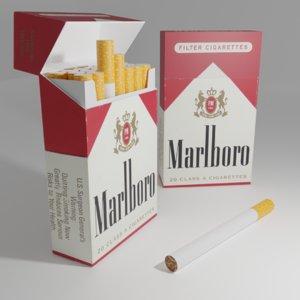 3D model opened closed marlboro packs