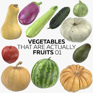 3D vegetables actually fruits 01 model